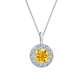 Platinum Halo Certified Round-cut Yellow Diamond Solitaire Pendant 0.75 ct. tw. (SI1-SI2)