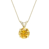 18k Yellow Gold 4-Prong Basket Certified Round-cut Yellow Diamond Solitaire Pendant 1.00 ct. tw. (SI1-SI2)