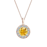 14k Rose Gold Halo Certified Round-cut Yellow Diamond Solitaire Pendant 1.00 ct. tw. (SI1-SI2)