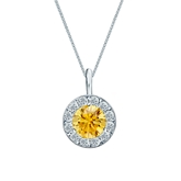 18k White Gold Halo Certified Round-cut Yellow Diamond Solitaire Pendant 1.00 ct. tw. (SI1-SI2)
