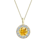 14k Yellow Gold Halo Certified Round-cut Yellow Diamond Solitaire Pendant 1.00 ct. tw. (SI1-SI2)