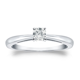 Certified 14k White Gold 4-Prong Asscher Diamond Solitaire Ring 0.33 ct. tw. (I-J, I1-I2)