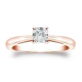 Certified 14k Rose Gold 4-Prong Asscher Diamond Solitaire Ring 0.50 ct. tw. (G-H, VS1-VS2)