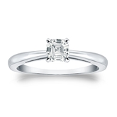 Certified 18k White Gold 4-Prong Asscher Diamond Solitaire Ring 0.50 ct. tw. (I-J, I1-I2)