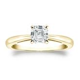 Certified 14k Yellow Gold 4-Prong Asscher Diamond Solitaire Ring 0.75 ct. tw. (G-H, VS1-VS2)
