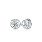 Certified 14k White Gold Bezel Round Diamond Stud Earrings 0.33 ct. tw. (G-H, SI1)