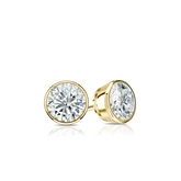Certified 18k Yellow Gold Bezel Round Diamond Stud Earrings 0.33 ct. tw. (G-H, SI1)