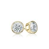 Certified 18k Yellow Gold Bezel Round Diamond Stud Earrings 0.40 ct. tw. (I-J, I1-I2)