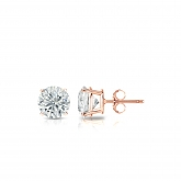 Certified Round Lab Grown Diamond Studs Earrings in 14k Rose Gold 4-Prong Basket 0.40 ct. tw. (E-F, VS1-VS2)