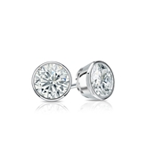Certified 18k White Gold Bezel Round Diamond Stud Earrings 0.50 ct. tw. (G-H, SI1)