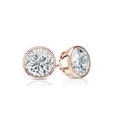 Certified 14k Rose Gold Bezel Round Diamond Stud Earrings 0.62 ct. tw. I-J, I1-I2)