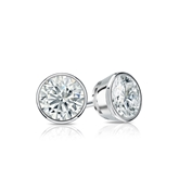 Certified 14k White Gold Bezel Round Diamond Stud Earrings 0.62 ct. tw. (G-H, VS2)