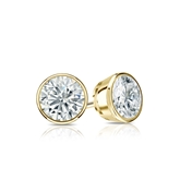 Certified 18k Yellow Gold Bezel Round Diamond Stud Earrings 0.62 ct. tw. (I-J, I1-I2)