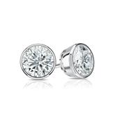 Certified 14k White Gold Bezel Round Diamond Stud Earrings 0.75 ct. tw. (I-J, I1-I2)