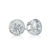 Certified 18k White Gold Bezel Round Diamond Stud Earrings 0.75 ct. tw. (G-H, SI1)