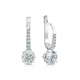 Certified Platinum Dangle Studs 4-Prong Basket Round Diamond Earrings 1.00 ct. tw. (I-J, I1-I2)