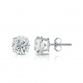 Certified Round Lab Grown Diamond Studs Earrings in 14k White Gold 4-Prong Basket 1.00 ct. tw. (E-F, VS1-VS2)