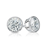 Certified Platinum Bezel Round Diamond Stud Earrings 1.00 ct. tw. (H-I, SI1-SI2)