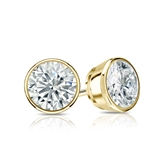 Certified 18k Yellow Gold Bezel Round Diamond Stud Earrings 1.00 ct. tw. (H-I, SI1-SI2)