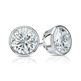 Certified 18k White Gold Bezel Round Diamond Stud Earrings 1.25 ct. tw. (H-I, SI1-SI2)