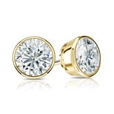 Certified 18k Yellow Gold Bezel Round Diamond Stud Earrings 1.25 ct. tw. (H-I, SI1-SI2)