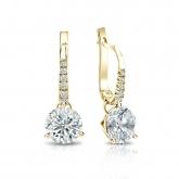 Certified 18k Yellow Gold Dangle Studs 3-Prong Martini Round Diamond Earrings 1.50 ct. tw. (I-J, I1-I2)