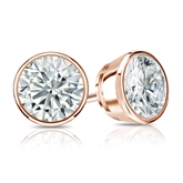 Certified 14k Rose Gold Bezel Round Diamond Stud Earrings 1.50 ct. tw. I-J, I1-I2)