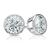 Certified 18k White Gold Bezel Round Diamond Stud Earrings 1.50 ct. tw. (I-J, I1-I2)