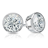 Certified 18k White Gold Bezel Round Diamond Stud Earrings 1.75 ct. tw. (I-J, I1-I2)