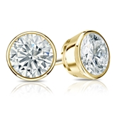 Certified 18k Yellow Gold Bezel Round Diamond Stud Earrings 1.75 ct. tw. (I-J, I1-I2)