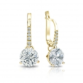 Certified 18k Yellow Gold Dangle Studs 3-Prong Martini Round Diamond Earrings 2.00 ct. tw. (G-H, VS1-VS2)