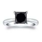 Certified 14k White Gold 4-Prong  Black Diamond Solitaire Ring 2.00 ct. tw.