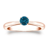 Certified 14k Rose Gold 4-Prong Blue Diamond Solitaire Ring 0.25 ct. tw. (Blue, SI1-SI2)