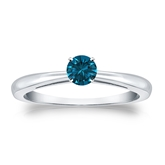 Certified 18k White Gold 4-Prong Blue Diamond Solitaire Ring 0.25 ct. tw. (Blue, SI1-SI2)