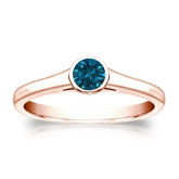 Certified 14k Rose Gold Bezel Round Blue Diamond Ring 0.25 ct. tw. (Blue, SI1-SI2)