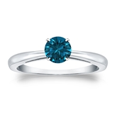 Certified 14k White Gold 4-Prong Blue Diamond Solitaire Ring 0.50 ct. tw. (Blue, SI1-SI2)