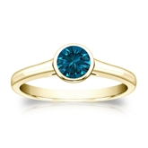 Certified 14k Yellow Gold Bezel Round Blue Diamond Ring 0.50 ct. tw. (Blue, SI1-SI2)