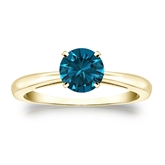 Certified 14k Yellow Gold 4-Prong Blue Diamond Solitaire Ring 0.75 ct. tw. (Blue, SI1-SI2)