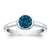 Certified 18k White Gold Bezel Round Blue Diamond Ring 0.75 ct. tw. (Blue, SI1-SI2)