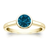 Certified 18k Yellow Gold Bezel Round Blue Diamond Ring 0.75 ct. tw. (Blue, SI1-SI2)