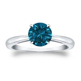 Certified 14k White Gold 4-Prong Blue Diamond Solitaire Ring 1.00 ct. tw. (Blue, SI1-SI2)