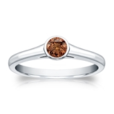 Certified Platinum Bezel Round Brown Diamond Ring 0.25 ct. tw. (Brown, SI1-SI2)