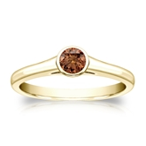 Certified 18k Yellow Gold Bezel Round Brown Diamond Ring 0.25 ct. tw. (Brown, SI1-SI2)