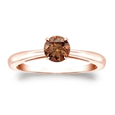 Certified 14k Rose Gold 4-Prong Brown Diamond Solitaire Ring 0.50 ct. tw. (Brown, SI1-SI2)