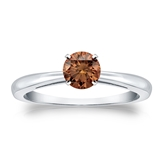Certified 18k White Gold 4-Prong Brown Diamond Solitaire Ring 0.50 ct. tw. (Brown, SI1-SI2)