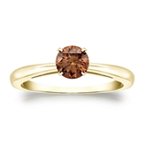 Certified 18k Yellow Gold 4-Prong Brown Diamond Solitaire Ring 0.50 ct. tw. (Brown, SI1-SI2)