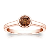 Certified 14k Rose Gold Bezel Round Brown Diamond Ring 0.50 ct. tw. (Brown, SI1-SI2)