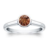 Certified Platinum Bezel Round Brown Diamond Ring 0.50 ct. tw. (Brown, SI1-SI2)