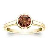 Certified 18k Yellow Gold Bezel Round Brown Diamond Ring 0.75 ct. tw. (Brown, SI1-SI2)