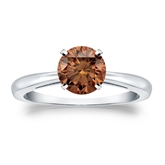 Certified 14k White Gold 4-Prong Brown Diamond Solitaire Ring 1.00 ct. tw. (Brown, SI1-SI2)